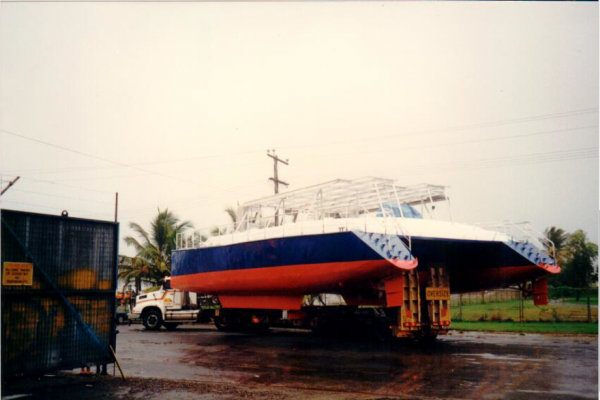 steel boat on truck 2