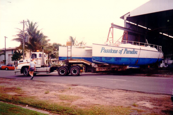 steel boat on truck