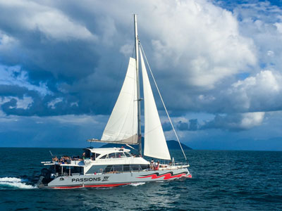 Passions of Paradise catamaran sailing home on Great Barrier Reef